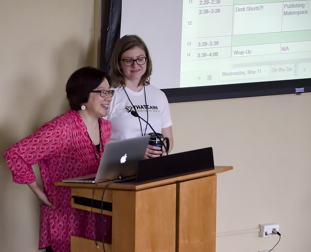 Mary Foskett (Humanities Institute Director) & Chelcie Rowell (ZSR Library's Digital Initiatives Librarian) welcome everyone to THATCamp Piedmont 2016. Photo by Susan Sharpless Smith, also available on Flickr.