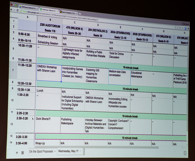 The day's schedule takes shape! Photo by Susan Sharpless Smith, also available on Flickr.