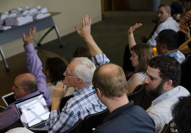 Voting on impromptu session proposals. Photo by Susan Sharpless Smith, also available on Flickr.