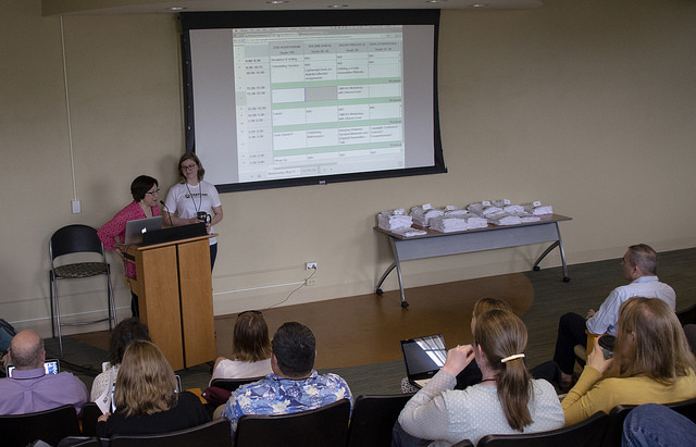 Day-of scheduling begins! Photo by Susan Sharpless Smith, also available on Flickr.